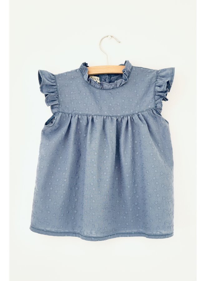 Blouse broidery - Jeans Blue