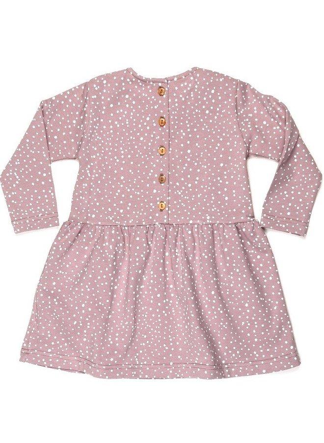 Dress Collar long sleeve - Dots Dusty Rose