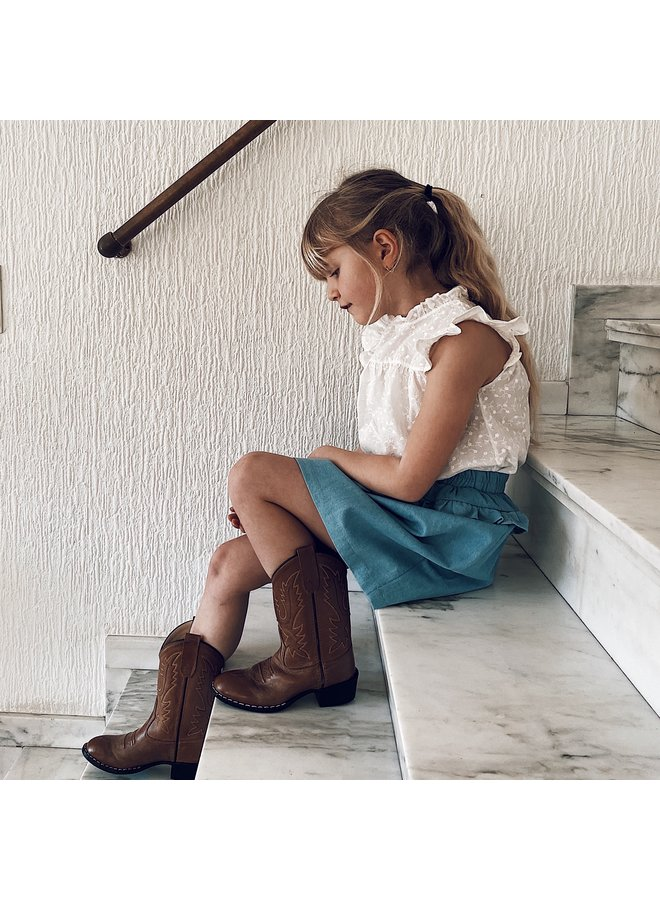 Skirt ruffle denim -  Blue bleached