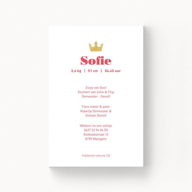 Geboortekaartje Sofie - met folie