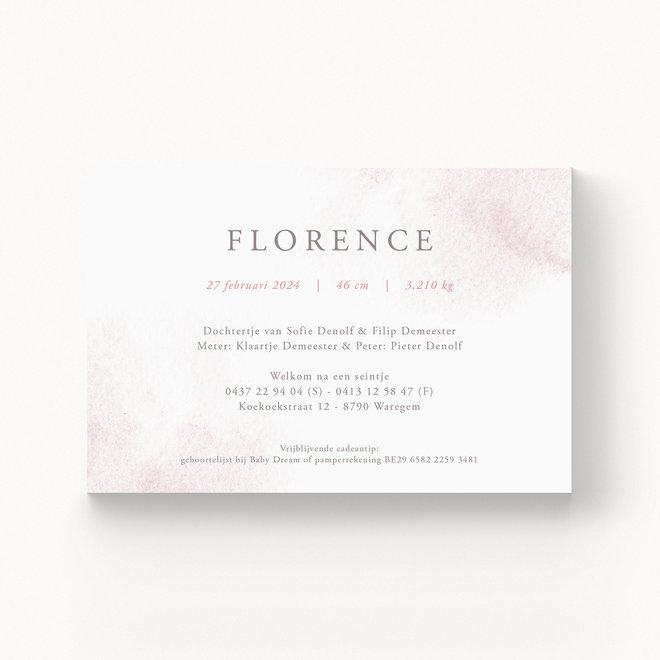 Geboortekaartje Florence - met folie