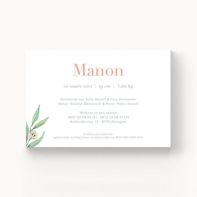 Geboortekaartje Manon - met folie