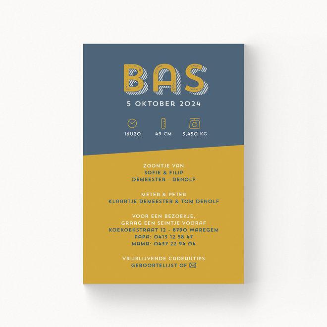 Geboortekaartje Bas - zonder folie