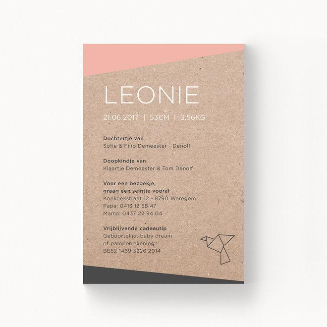 Geboortekaartje Leonie - zonder folie
