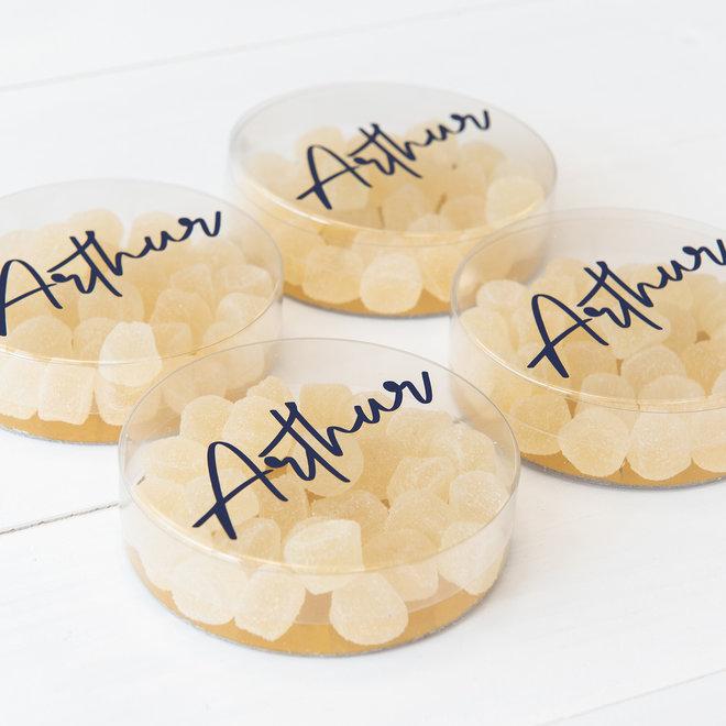 Transparant plat rond mica doosje met sticker