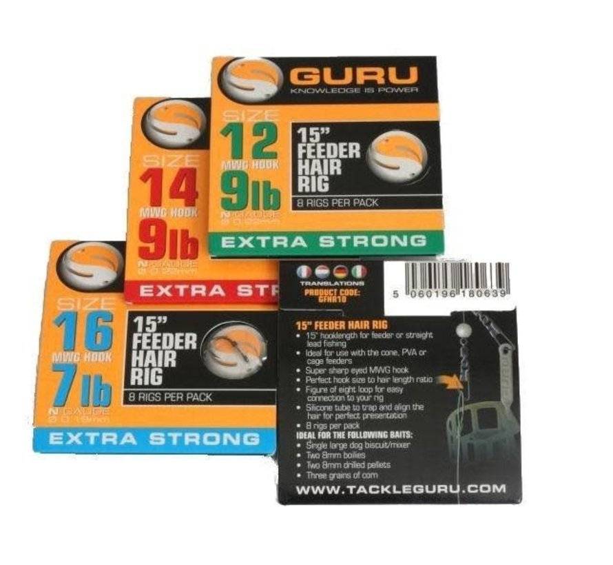 """15"""" Feeder Hair Rig Extra Strong (8 rigs)"""
