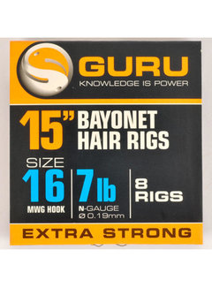 "Guru 15"" Bayonet Hair Rigs Extra Strong (8 rigs)"