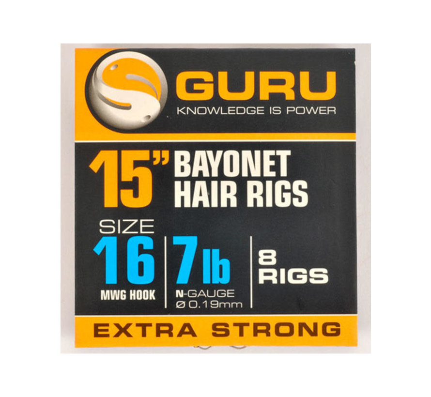 "15"" Bayonet Hair Rigs Extra Strong (8 rigs)"