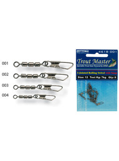 Trout Master 3-Jointed Rolling Swivel with Snap (8 pcs)