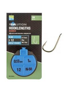 Preston N-50 Revalution Hooklengths Barbed 100cm (10 pcs)