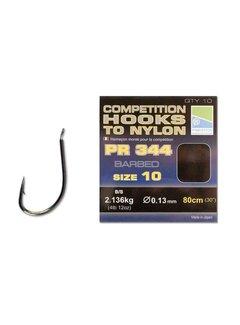 Preston Competition Hooks to Nylon PR 344 Barbed 80cm