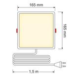 12 W LED-Downlight quadratisch - 165 x 165 mm