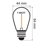 Lichterkette Glühbirne farbig, LED Filament, 1 Watt, gelb