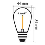 Lichterkette Glühbirne farbig, LED Filament, 1 Watt, grün