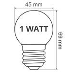 Kaltweiße LED-Glühbirne, 1 Watt