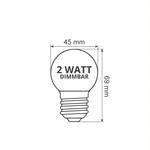 Warmweiße LED-Glühbirne mit milchig weißer Abdeckung, 2 Watt,  Ø45, dimmbar