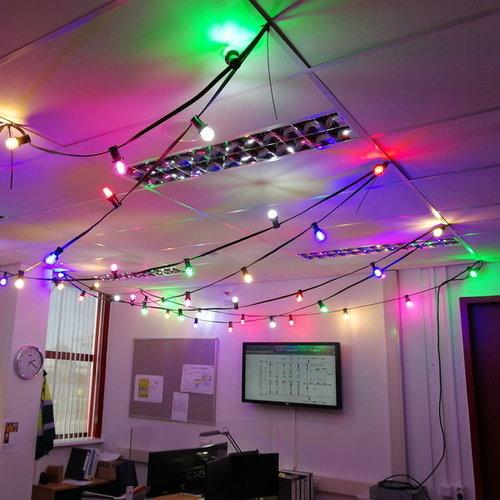 Lichterkette Glühbirne farbig, Filament LED, dimmbar, gelb - 3,5 Watt