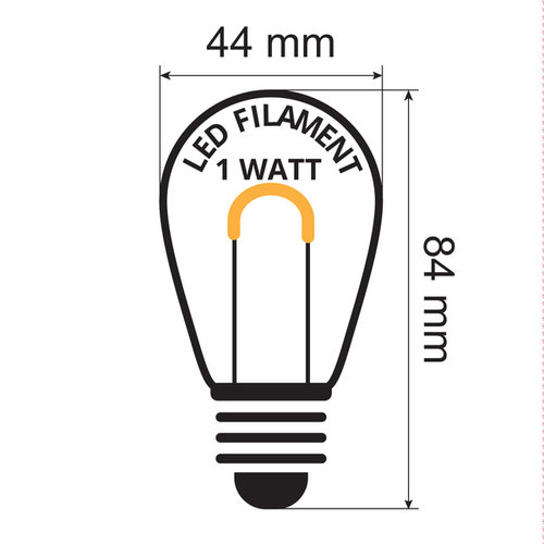 Illu Lichterkette, 1 Watt dimmbare LED Glühlampen. U-förmig, 5-100 Meter