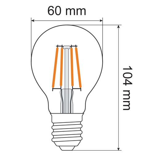 4,5W & 7W Filament Glühlampe, 2700K, Klarglas Ø60, 3-stufig dimmbar