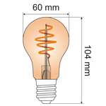 5W Croissant-Spirallampe, 1800K, Braunglas Ø60 - dimmbar