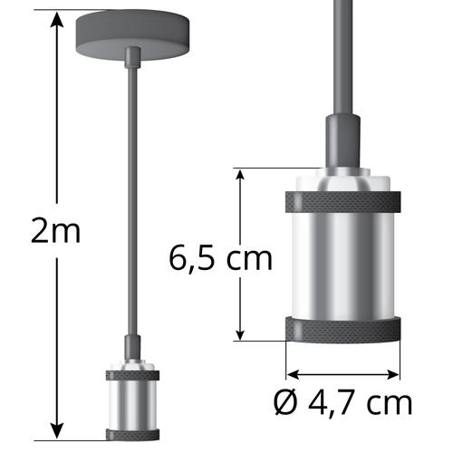 Moderne Kabelpendelleuchte silber