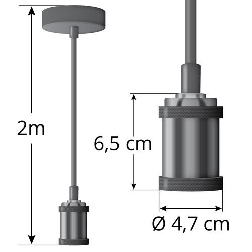 Moderne Kabelpendelleuchte schwarz glänzend