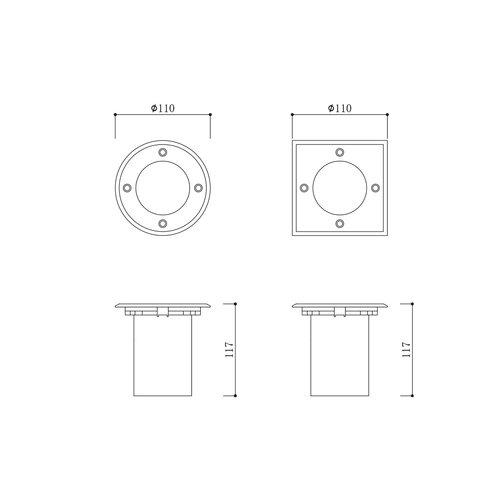 Moderner Bodenspot für den Außenbereich IP67- Quadratischer Maulwurf