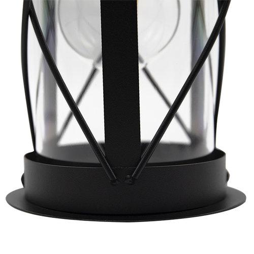 Edelstahl-Industrie-Wandleuchte Alicia mit Glas - schwarz