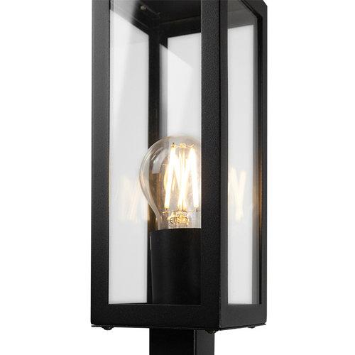 Industrielle Edelstahl schwarz Außenlampe Alessio mit Glas, 80 cm