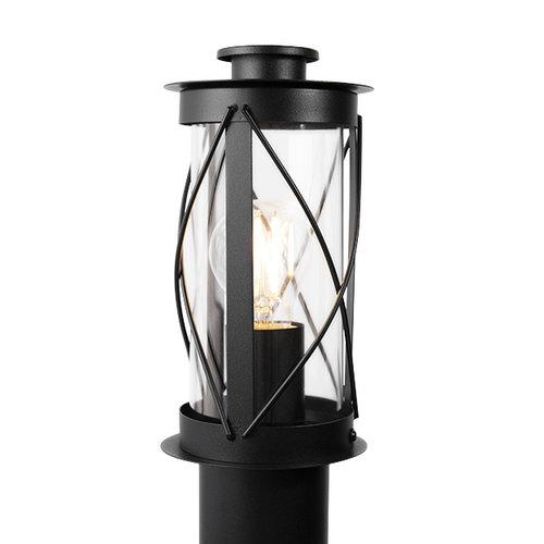 Edelstahl ländlich schwarz Stehleuchte Lucia mit Glas, 80 cm