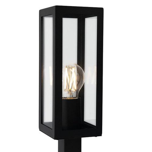 Industrielle Edelstahl schwarz Außenlampe Alessio mit Glas, 50 cm
