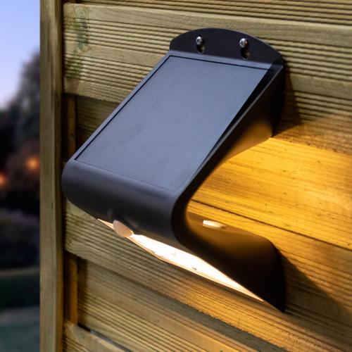 Solar-Wandleuchte Single Conan 2,3W mit Sensor - schwarz