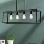 Industrielle Hängelampe in schwarz mit 4 Lampen - Zagreb-Käfig