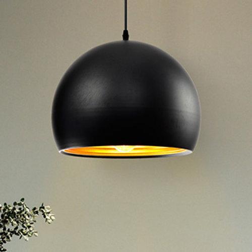 Moderne runde Hängeleuchte in schwarz mit Gold 25cm - Goldy