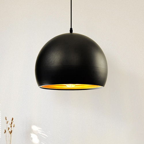 Moderne runde Hängeleuchte in schwarz mit Gold 35cm - Goldy