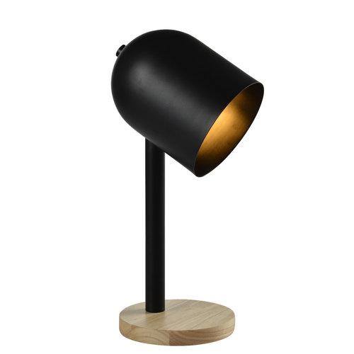 Moderne Tischleuchte in schwarz mit Holz - Spy