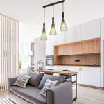 Industrielle Hängelampe aus schwarzem Metall mit 3 Lampen - Sofia