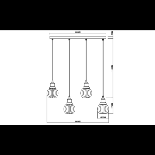 Art Deco Pendelleuchte aus Bernsteinglas mit 4 Lampen - Bologna