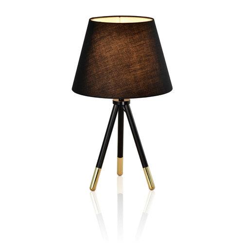 Klassische Tischlampe in schwarz und gold mit Stoffschirm - Girona