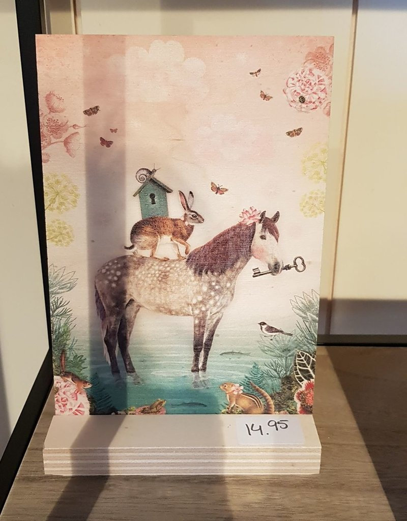 BM schilderij hout paard