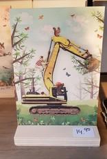 BM schilderij hout graafmachine