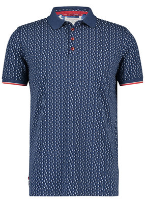 A Fish Named Fred AFNF Shirt SS Polo mini Dots Navy Blue