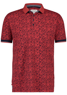 A Fish Named Fred AFNF Shirt SS Polo Red Fowers