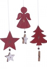 Houten Kerstboom. Engel of Ster aan veer