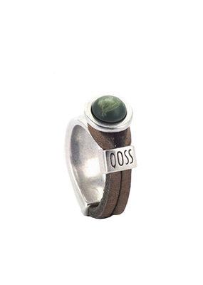 QOSS Gwen ring Taupe - groen bol
