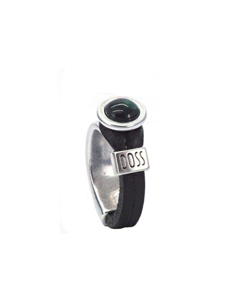 QOSS Gwen ring zwart - zwart bol
