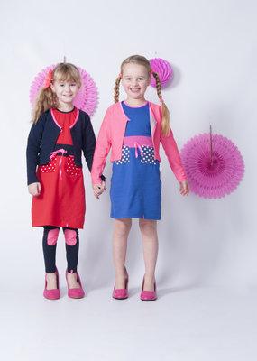 MOOI VROLIJK Mooi Vrolijk Meisjes vest Blauw met roze bies 1049