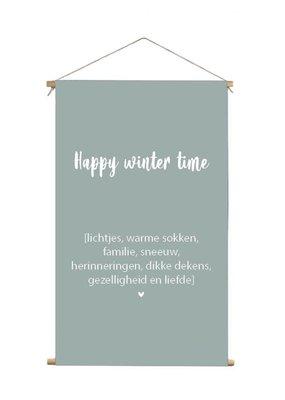 Textielposter happy wintertime mosgroen XL 60x90cm