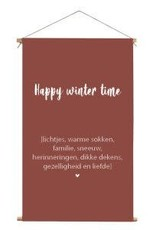 Textielposter happy wintertime Steenrood 40x30cm