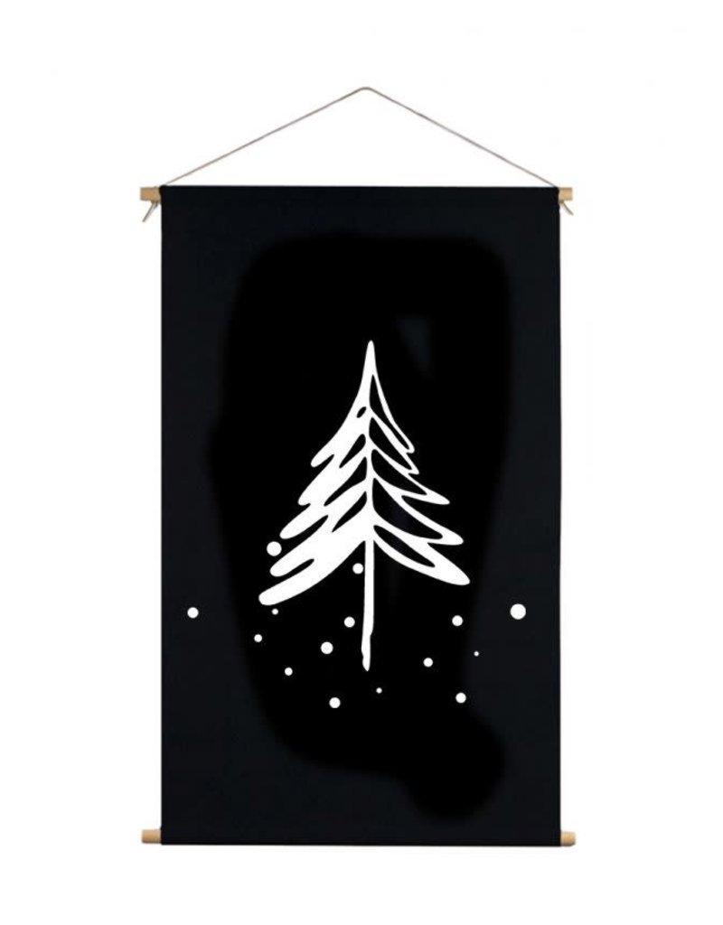 Textielposter denneboom zwart 40x30cm
